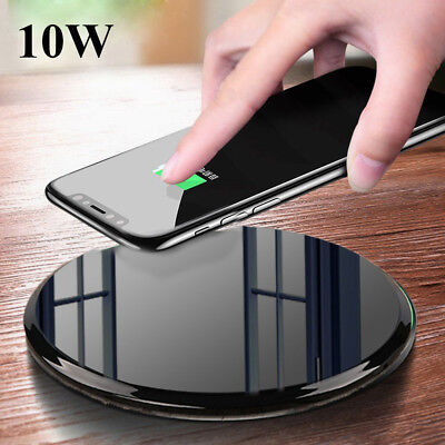 Qi Fast Wireless Charger Temper Glass Pad For iPhone Xs Max X Samsung S9+