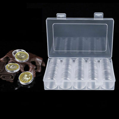 100pcs Coin Capsules Coin Storage Boxes Containers Box Case 27mm+Plastic BOX