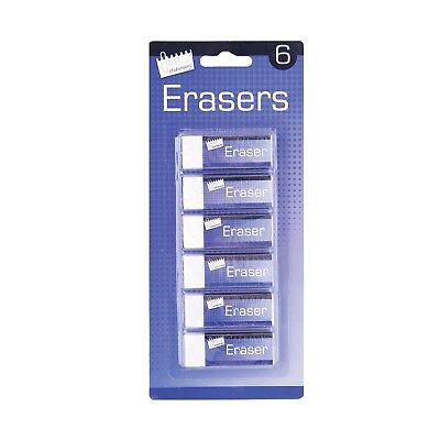 12 Quality White Soft Erasers Stationery School Office Pencil Rubber UK SELLER