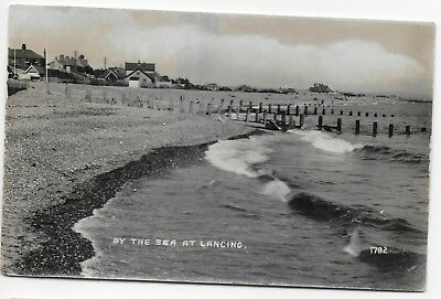 By the Sea at Lancing RP Postcard c1920s? Plain back