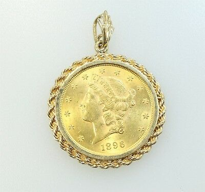 1896 Gold $20 Liberty Double Eagle Coin With 14k Bezel