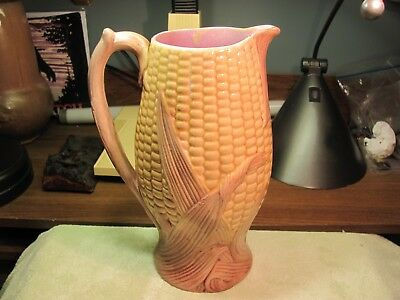 Antique English Majolica Figural Ear Of Corn Large Pitcher Unusual Color Combo
