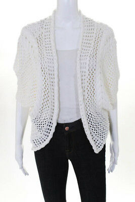 c26d05abd8187 Minnie Rose Womens Cardigan Sweater Top Size XS White Cotton Sleeveless