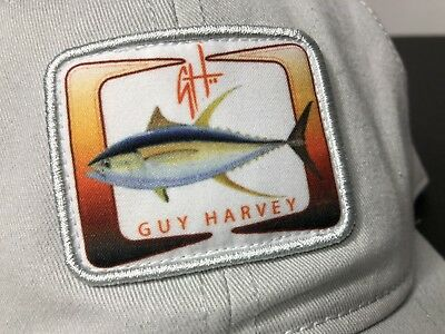 111b5556443a4 Guy Harvey AFTCO Mens Hat One Size Snap Back White Cloth Yellowfin Tuna  Fishing