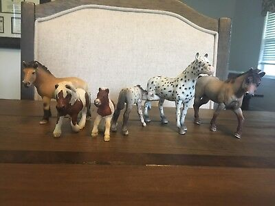 Lot Of 6 Schleich Horses Two Mares and Two Foals and Two Assorted Horses