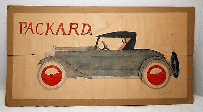 Vintage Packard Drawing, Signed JC McGinness 5/8/23, 1923, Automobile, Man Cave