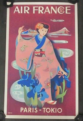 Yarde Tabuchi Air France To Tokyo Serigraph 1952 Reprint 1990 Unframed