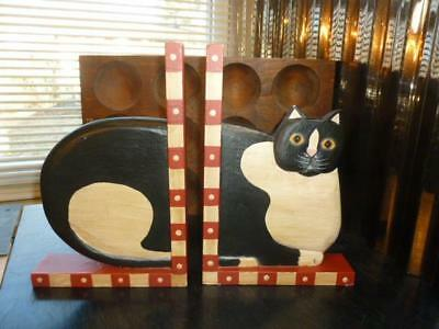 Vintage Folk Art Fat Cat Hand Painted Wood Bookends