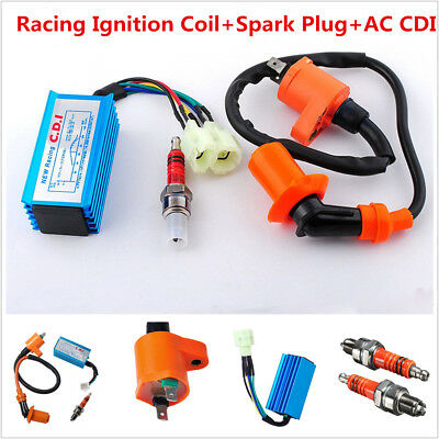 Motorcycle Scooter ATV Racing Ignition AC 6-Pin Coil CDI Box Spark Plug For GY6