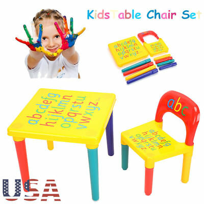Kids Plastic Table&Chair Set Furniture Activity Toddler Toy Play Home DIY Gifts