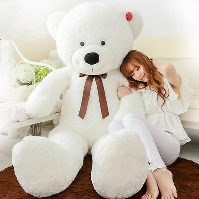 "160cm/63"" Giant Huge Big Stuffed Animal White Teddy Bear Plush Soft Toy Gift"