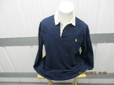 Vintage Polo By Ralph Lauren Long Sleeve Collar Large Polo Navy Rugby Shirt