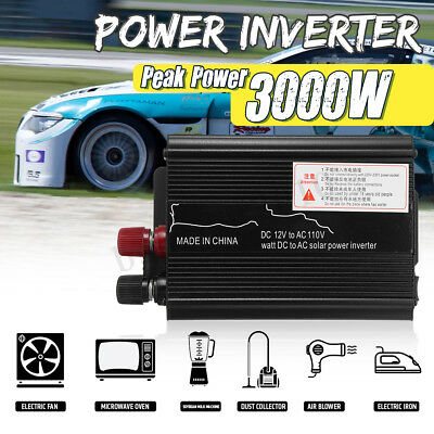 3000W Car Solar Power Inverter DC 12/24V To AC 110/220V USB Sine Wave