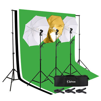 3x Umbrella Photo Video Studio Photography Continuous Lighting Kit With Backdrop
