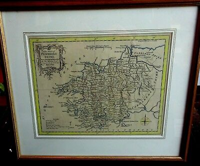 Antique Framed Map Of Pembrokeshire Wales C 1762