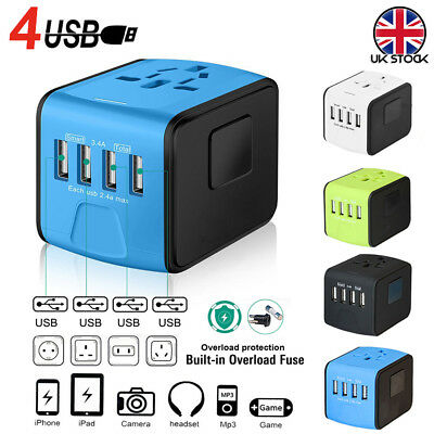 NEW World Wide Universal Travel Adapter Multi Plug Charger With 4 USB PORTS