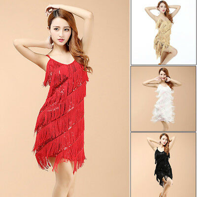 New Fringed Flapper Dress Cocktail 1920's Party Sexy Sequins Tassel Dance Latin