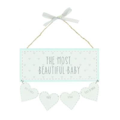 """'Petit Cheri' Baby Wall Plaque """"Beautiful Baby"""" with Birth Data Hearts"""