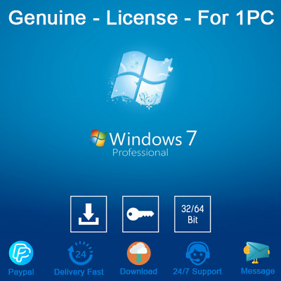 Windows 7 Pro 32/64 Bit Genuine License Key For 1Pc