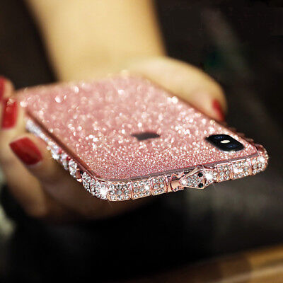 Luxury Women Bling Sparkly Glitter Metal Sticker Case Cover For iPhone 8+ 7 6 5