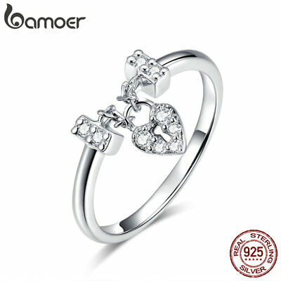 BAMOER Solid 925 Sterling silver Ring Heartslock With Pink &CZ For Women Jewelry