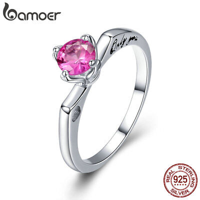 BAMOER Solid 925 Sterling silver Ring Only You With Pink AAA CZ For Women Gift