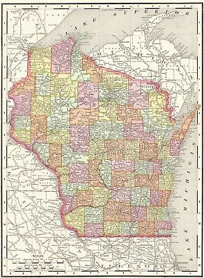 1900 Antique WISCONSIN Map Original Vintage Map of Wisconsin State Map 6256