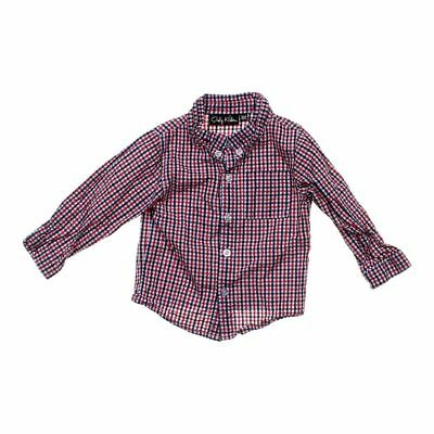 Only Kids Baby Boys Button-Down Gingham Shirt, size 18 mo,  red,  cotton