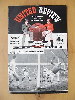MANCHESTER UNITED v BIRMINGHAM CITY 1957/1958 *Exc Condition + Token - Munich*