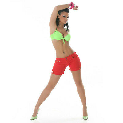 Sexy Jeans Hotpants Shorts Mit Strass Rot#H187