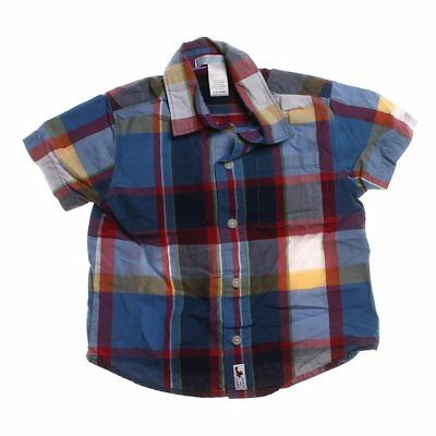 Janie and Jack Baby Boys Plaid Button-up Shirt, size 12 mo,  blue/navy, red