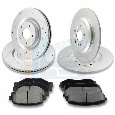 Rear Cross Drilled Rotors and Ceramic Pads for Saab 9-3 1999-2003