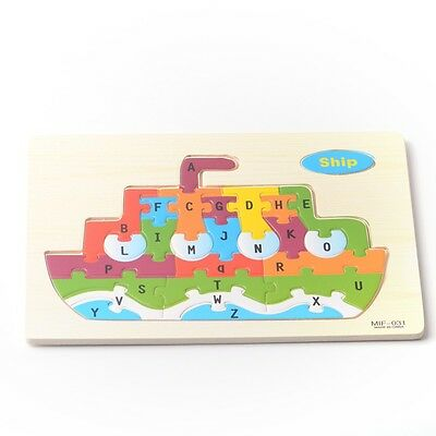Ship Wooden ABC Alphabet Educational Learning Children's Puzzle Jigsaw Kids Toy
