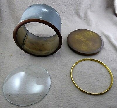 Cylindrical Clock casing with brass bezel, Glass/inner bezel and case back