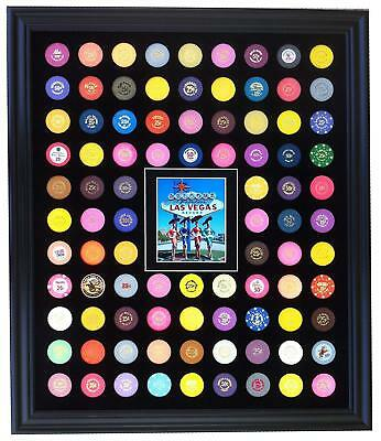 20x24 BLACK DISPLAY PICTURE FRAME FOR 90 CASINO POKER CHIPS (NOT INCLUDED)