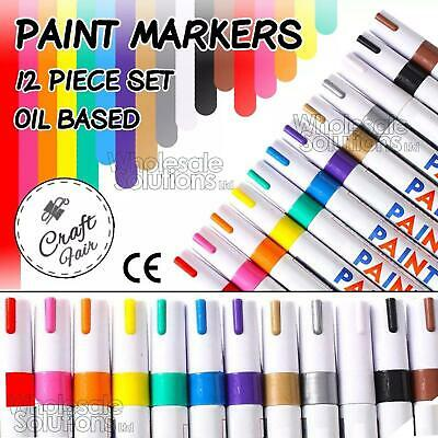 12x Set Colour Markers Paint Pens Oil Art Metal Glass Waterproof Pastel Fine Pen