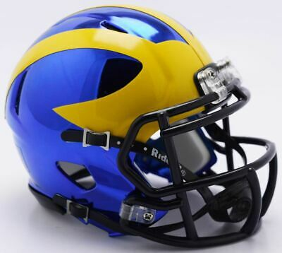 9f20f7a2 Michigan Wolverines Helmet Riddell Replica Mini Speed Style Chrome Alternate