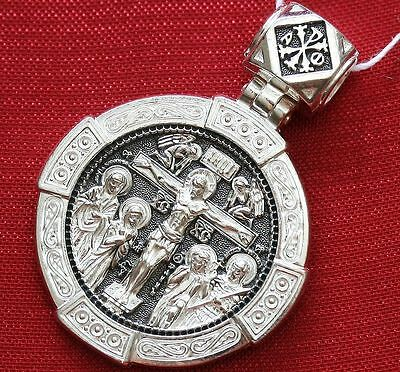 Crucifiction Of Jesus Christ Russian Greek Orthodox Medal Pendant Silver 925 New
