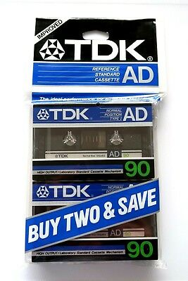 2 Pack - Tdk Ad 90 Premium Normal Position Type I Blank Audio Cassettes - 1984