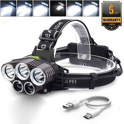 Super Bright 90000LM LED Headlamp 5X T6 Headlight Torch Rechargeable Flashlight