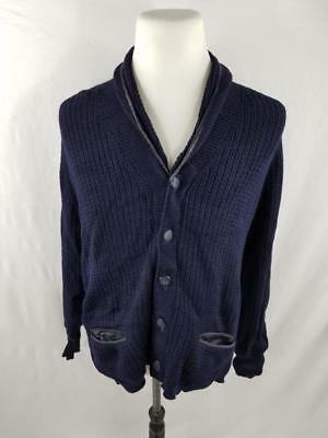 VTG Saks Fifth Avenue Mens L Navy Blue Wool 70s Shawl Collar Cardigan Sweater