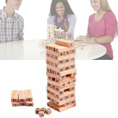 54Pcs Wooden Tower Hardwood Building Blocks Toy Domino Jenga Game Toys Gifts AU