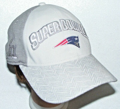 New England Patriots New Era Super Bowl LII Hat Cap 9FORTY Strapback Gray White