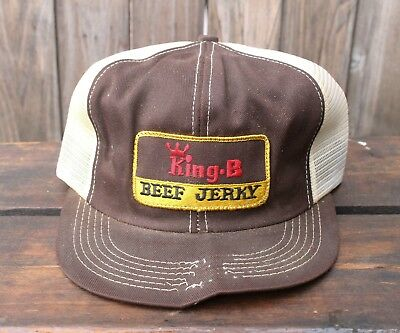 Vintage K BRAND PRODUCTS USA MADE Trucker Hat Snapback Cap King B Beef Jerky 805d7d2284ef