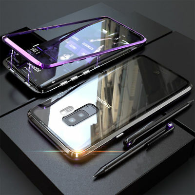 Tempered GLASS MAGNETIC Adsorption METAL Case Cover For Samsung Galaxy Note 8 9