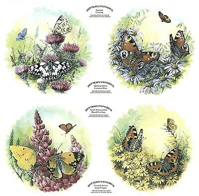 "Butterfly Kingdom Garden Set of 4 pcs 7-1/2"" Waterslide Ceramic Decals Xx"