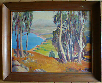 Mystery Plein Air Impressionist Old California Oil Eucalyptus School Landscape