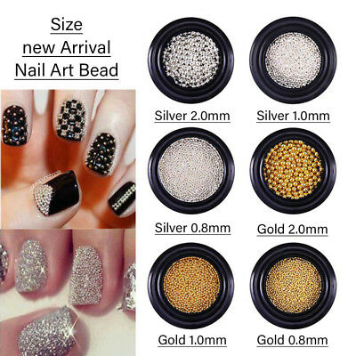 Gold Silver Metal Micro Beads Stainless Steel Nail Art Caviar Beads For Nail Art