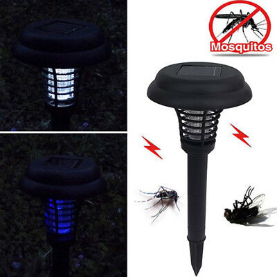 LED Solar Powered Outdoor Garden Flying Mosquito Insect Bug Zapper Killer Lamp