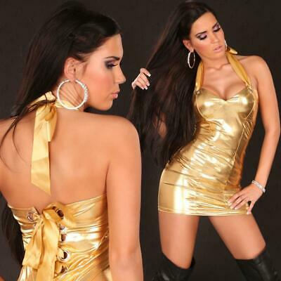 Sexy Neckholder Minikleid Metallic-Look Wetlook Gogo Gold 34/36/38 #Mk1200